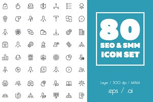 80 SEO & SMM icon set