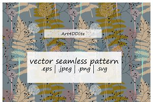 Fern leaves and dandelions pattern