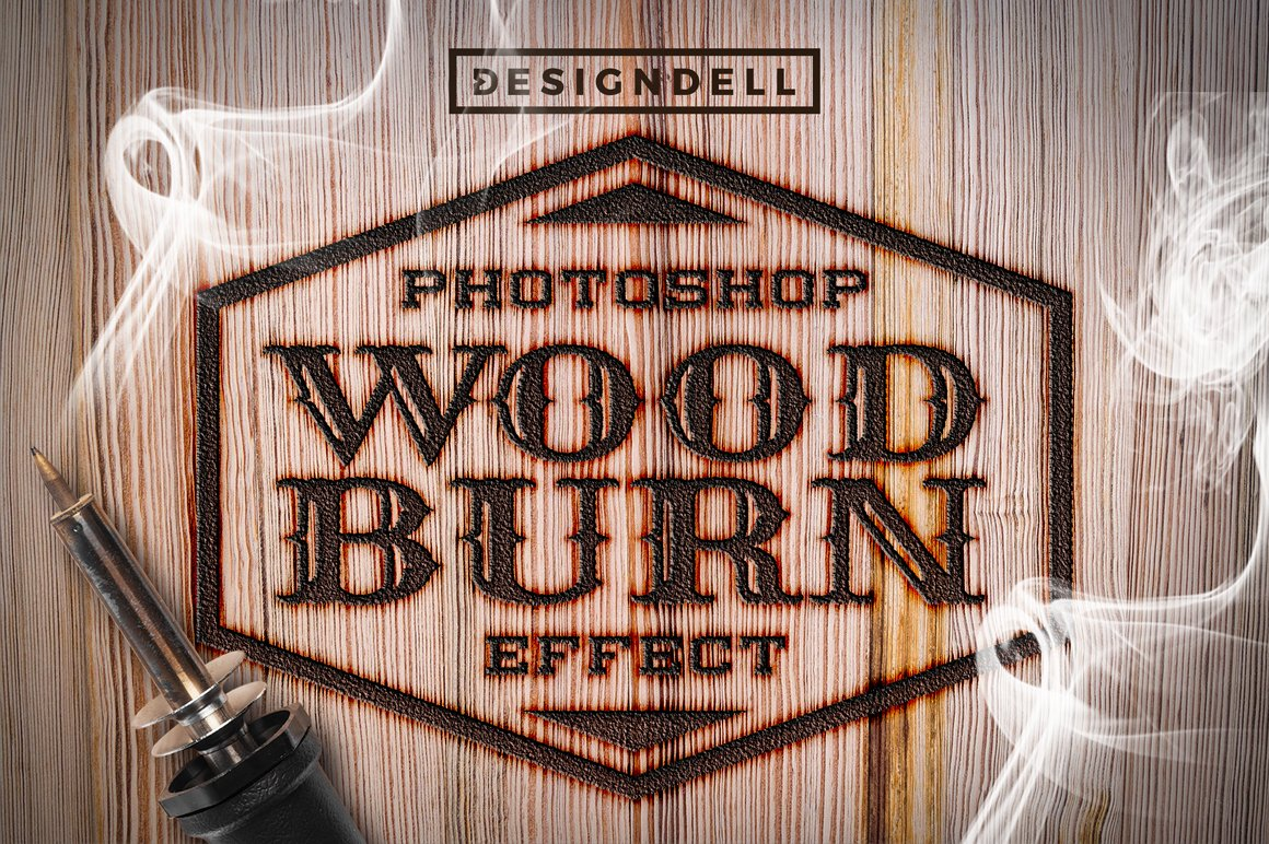 Wood burn photoshop effects layer styles creative market spiritdancerdesigns