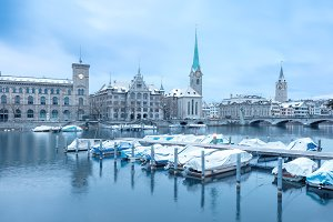 Old Zurich town, view on lake