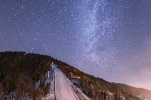 Planica ski flying hill at night