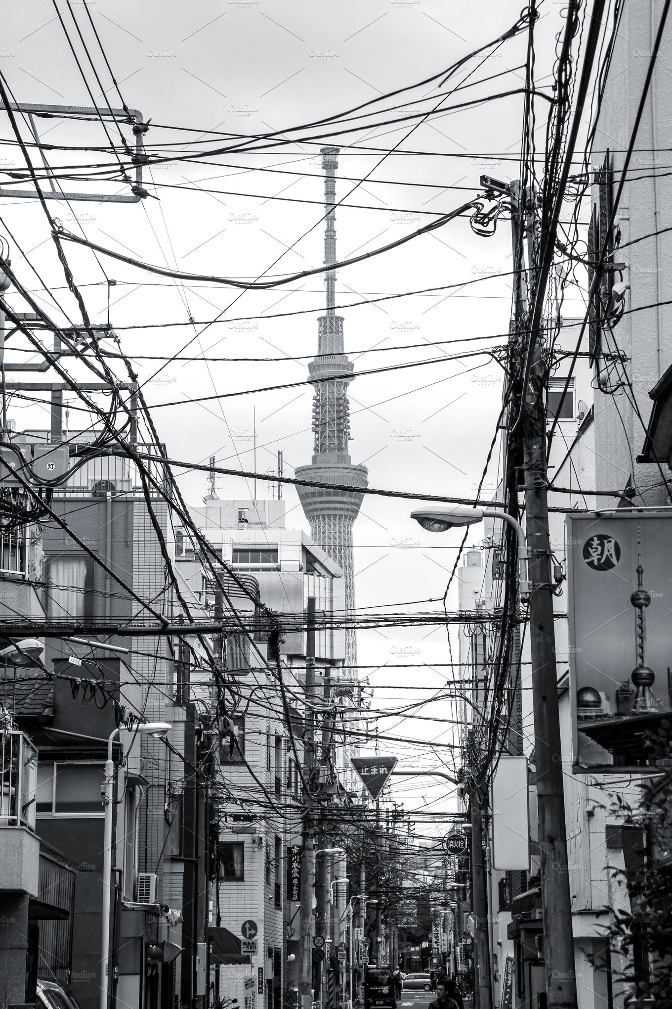 Tokyo street with electrical wires ~ Architecture Photos ~ Creative ...