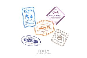 International travel visa stamps.
