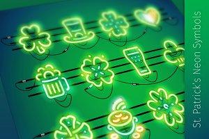 St. Patrick's Neon Icons