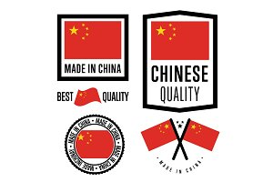 Made in China label set. Vector national flag