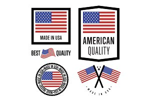 Made in American label set. Vector national flag