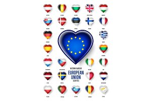 European Union country flags icon, vector