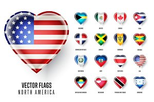 Vector flags icon of the countries North America.