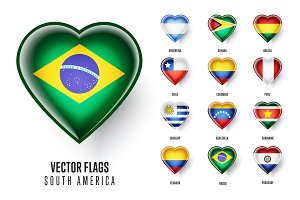 Vector flags of the countries South America.
