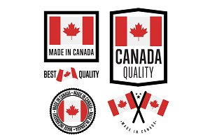 Made in Canada label set. Vector national flag