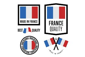 Made in France label set. Vector national flag