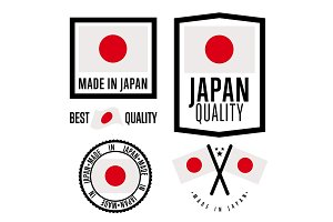 Made in Japan label set. Vector national flag