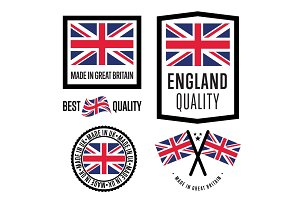 Made in Great Britain label set. National flag