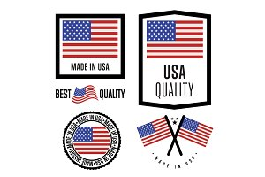 Made in USA label set. Vector national flag