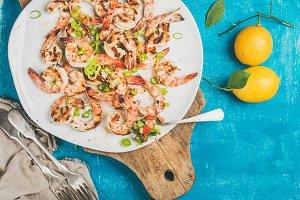 Seafood dinner. Grilled tiger prawns