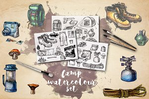 Camping Watercolor Clipart Elements
