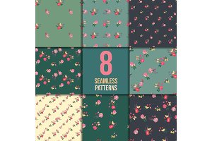 Seamless Vintage Wildflowers Pattern Set