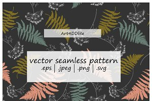 Fern Leaves And Dill Flowers Pattern