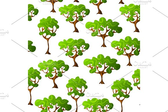 Seamless Pattern With Abstract Stylized Trees Natural Illustration