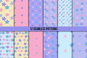 Seamless forget-me-not pattern set