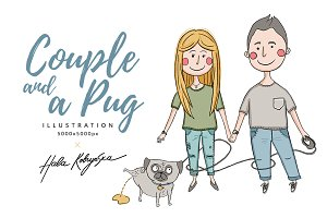 Couple with a cute pug illustration