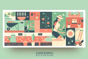 Gardening flat background