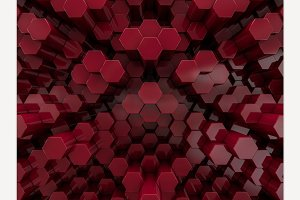 Hexagon abstract red background.