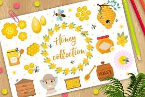 Honey collection (clip-art, vector)