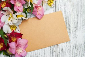 Card with alstroemeria flowers