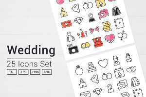 Wedding Day Icons Set