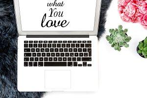 Workplace Laptop succulent flowers