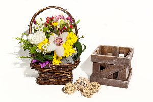 Flower bouquet composition for the holiday, spring bouquet of