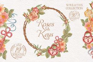 Watercolor wreaths set. Roses & keys