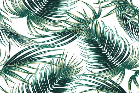 Tropical Palm Leaves Pattern Graphic Patterns Creative Market New Tropical Leaves Pattern