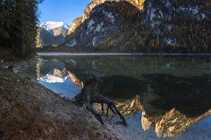 Morning on the lake Lago di Landro