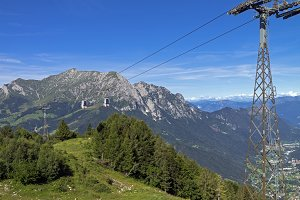 The cable car in the Alps in summe
