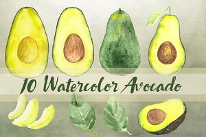 10 Watercolor Avocado Clip Art Set