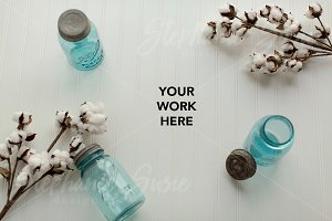 Blue Ball Jars & Cotton Styled Photo