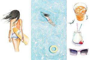 Watercolor summer clipart set