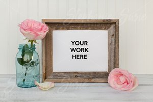 Barn Wood Frame & Pink Rose Styled