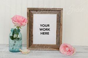 Barn Wood & Pink Rose Style Mock Up