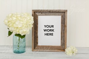 Hydrangea & Barn Wood Frame Mock Up