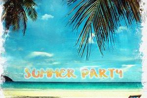watercolor of tropical beach in Thai