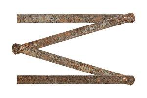 Rusty steel folding ruler