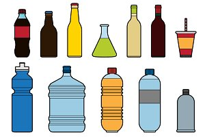 Flat Bottle Icons