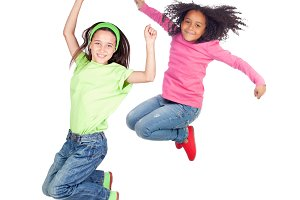 Two children jumping