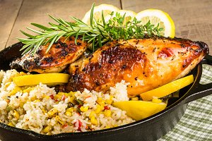 Cast iron skillet chicken with rice