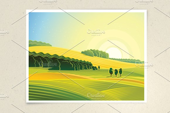 Rural landscape, dawn summer.