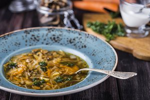 Soup with cabbage and dried mushrooms