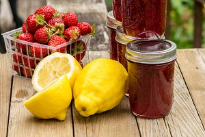 Strawberry lemon jam and jars